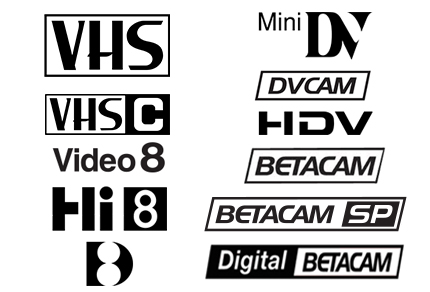 vhs,vhc,hi8,v8,d8, mini dv,dvcam,betacam,betasp,betanum,umatic,